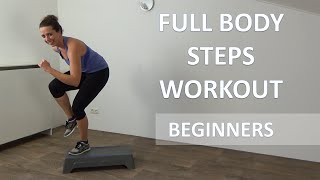 20 Minute Full Body Steps Workout – Beginners Cardio Step Up Training Routine