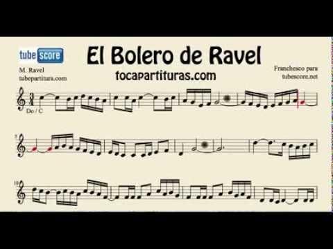 El Bolero de Ravel Partitura Lenta de Flauta Traversa Violin Oboe para aprender el bolero en do