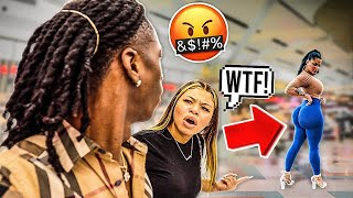 CHECKING OUT OTHER GIRLS IN FRONT OF MY GIRLFRIEND!! (BAD IDEA)