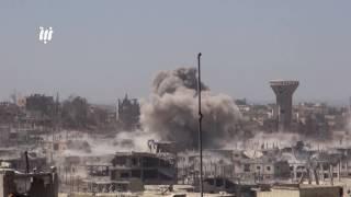 قصف الطيران الروسي وصواريخ الفيل على أحياء درعا البلد بمدينة درعا .