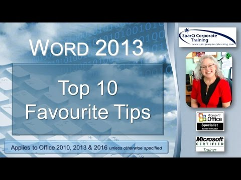 Word 2013 Top 10 Favourite Tips
