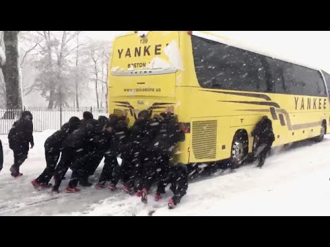 Xxx Mp4 Northeastern University Woman's Basketball Team Pushes Bus Out Of Snow 3gp Sex