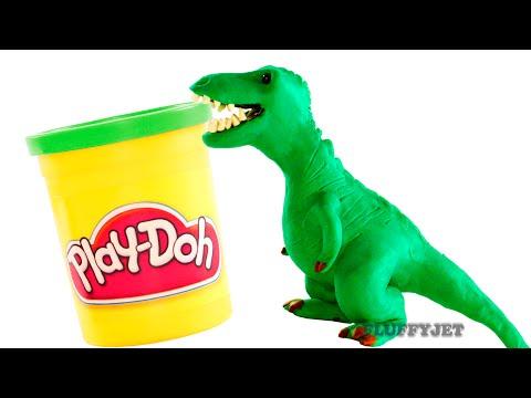 Dinosaurs Play doh Stop Motion T-Rex Dinosaur animation Tyrannosaurus Rex dinosaur toy eggs Jurassic