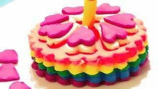 Play Doh Rainbow Cake! Playdough Video for Kids - Montaña de Pasteles Torta de Cumpleaños