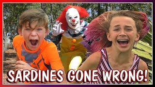 😱SARDINES AT THE PARK WITH A SCARY CLOWN!😱| WARNING: SCARY | HIDE AND SEEK