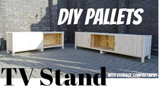 TV Stand From Pallets With Storage // DIY