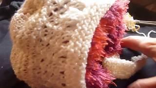 طاقية تريكو ونقشة مع لفحة للاطفال والبيبي knitting hat with ears