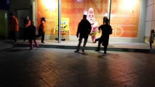 Spongebob dancing at Blackpool Pleasure Beach