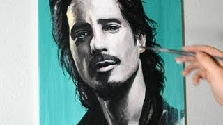 Painting Chris Cornell from Soundgarden with Acrylic Paints on Canvas