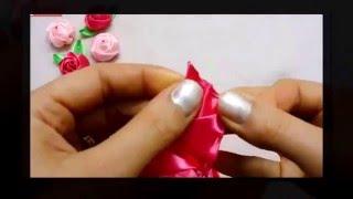 Hướng dẫn làm hoa hồng từ dây ruy băng