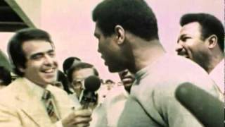 Muhammad Ali engaging in some of his famous trash talk