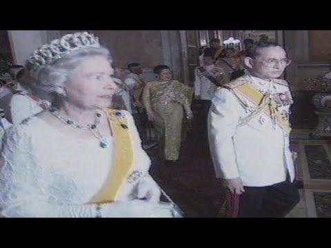 Queen Elizabeth II visits Thailand and meets Thai King Bhumibol Adulyadej