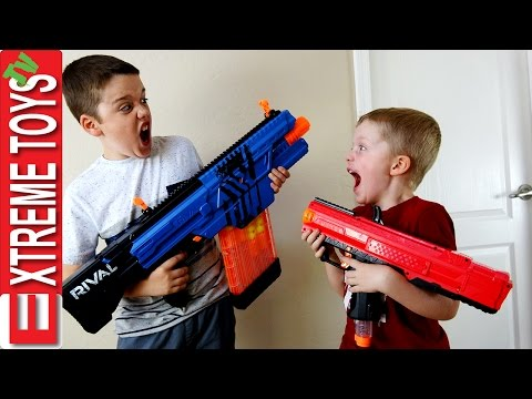Nerf Blaster Prank Battle Ethan and Cole Attack and Set Traps with Nerf Rival Blasters