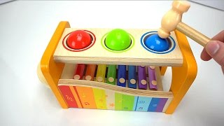 Preschool Toys Teach Colors and Counting for kids! Fun Play with Ball Pounding Bench for Toddlers!
