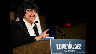 Democratic candidate for governor Lupe Valdez speaks at Tyler Station in Dallas