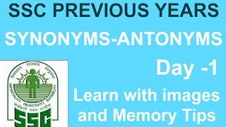 SSC Previous Year's English Vocabulary Words | Synonyms and Antonyms | Day-1