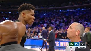 Giannis Antetokounmpo Furious With Referee after Last Play - Bucks vs Knicks | December 1, 2018
