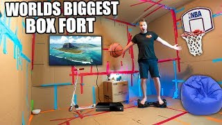 WORLDS BIGGEST BOX FORT!! 24 Hour Challenge: Basketball Court, NERF WAR, Segway & More!