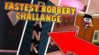KID DOES FASTEST ROBBERY CHALLENGE IN JAILBREAK?! (Roblox Jailbreak)