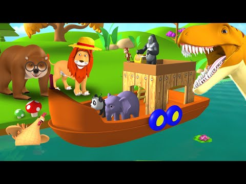 Wild Animals Boat Ride Gorilla Drives Boat on the River in Forest Fun animals Compilation