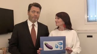 Nick Offerman and Megan Mullally Translate Suggestive Emojis