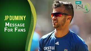 JP Duminy message for the HBL PSL Draft 2017