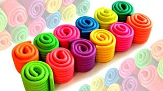 Learn Colours with Playdough Rolls modelling clay for kids II