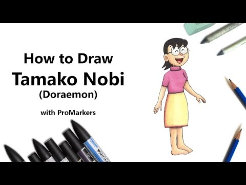How to Draw and Color Tamako Nobi from Doraemon with ProMarkers [Speed Drawing]