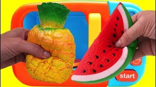 Microwave Surprise Learn Colors Squishy Toy Fruit Cutting Pretend Playset Fun for Kids