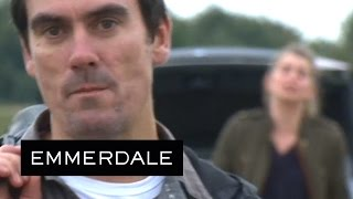 Emmerdale - Cain Walks Away From A Screaming Charity