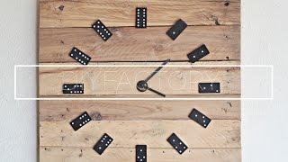 DIY pallet wall clock from dominoes!
