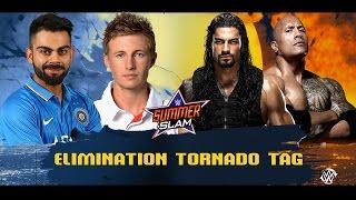 Joe Root & Virat Kohli VS Roman Reigns & The Rock - WWE 2 on 2 Toranado Elimination Tag
