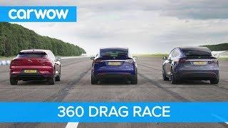 Tesla Model X 100D & P100D vs Jaguar I-Pace – 360° DRAG & ROLLING RACE
