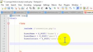 Creating form and passing data in database using Html , CSS and PHP - Web development