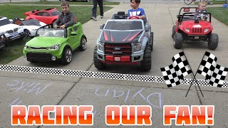 Power Wheels Driveway Racing with Fan Who Finds Us | KidTraxx Sportrax Peg Perego Vehicle Collection
