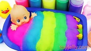 Color Foam Baby Doll Bubble Bath Time Suprise Egg Kinder Joy Toys Learn Colors Baby Finger Song Kids