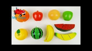 Learn Colors Toys Toy Cutting Fruit Velcro Cooking Playset Fruit Salad Wooden and Plastic learn