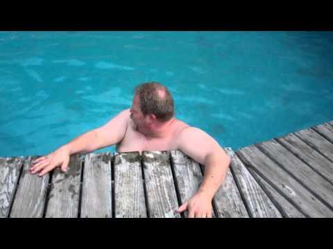 FAT MAN STUCK IN THE POOL!