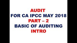 AUDIT FOR CA IPCC MAY 2018 PART 2