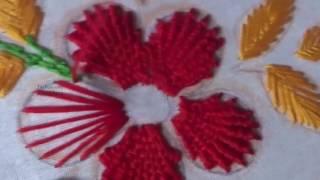 Hand Embroidery Flower Design Kamali Work and Fishbone Stitch by AmmaArts