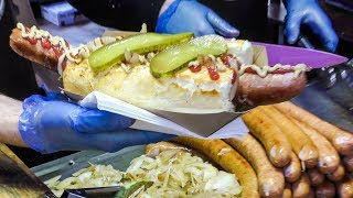 Huge Kielbasa Sausages from Poland Tasted in Greenwich Market. London Street Food
