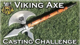 Casting An Aluminum VIKING AXE From Scrap Metal - Hand Made Viking Axe Casting Challenge
