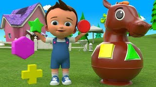 Learning Colors & Shapes for Children with Baby Wooden Horse Toys Set Shapes 3D Kids Educational