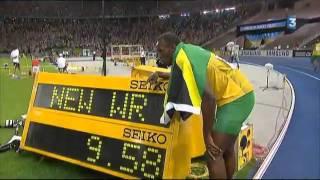 Record du monde du 100m masculin : Usain Bolt (9