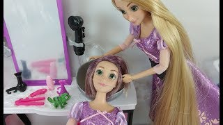 Disney Princess Rapunzel Hair DIY Haircut at BARBIE STYLE SALON Toy doll Beauty Salon