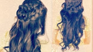 ★CUTE CURLY HAIRSTYLES   BRAIDED HALF- UP UPDOS FOR SCHOOL WITH CURLS   MEDIUM LONG HAIR TUTORIAL 