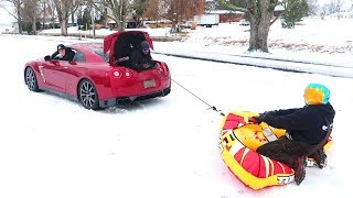 INCREDIBLE GTR SNOW SLEDDING!!