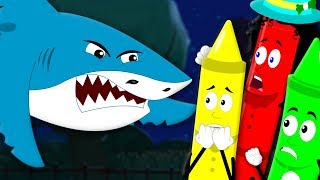 Scary Flying Shark | Shark Song | Crayons Nursery Rhymes | Learn Colors | Song For Kids And Baby