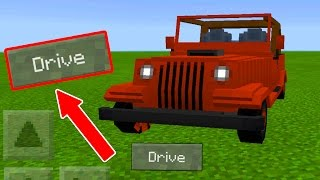 HOW To DRIVE CARS on Minecraft Pocket Edition!! // MCPE Jeep Car Addon