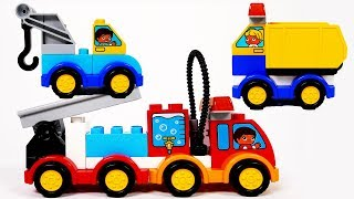 Fire Truck Tow Truck Dump Truck Building Blocks Car Toy Vehicles Playset for Children and Kids